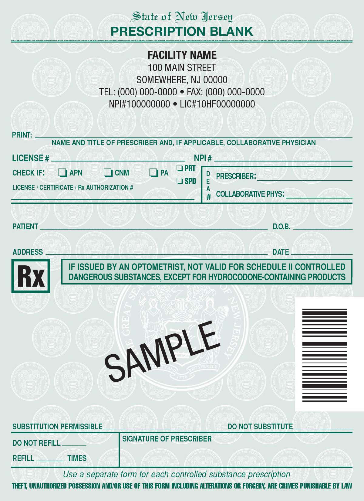 new jersey rx pads  nj rx prescription pads printing for